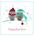 cute winter card two baby owls vector image vector image