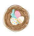 easter design element nest with eggs and bunny vector image