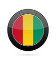 flag of guinea shiny black round button vector image vector image