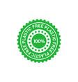 free plastic 100 percent green sticker eco vector image vector image