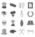 Funeral icons set black monochrome style vector image vector image