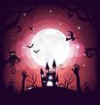 halloween element design on full moon background vector image vector image