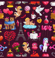 holiday love valentines day seamless pattern vector image
