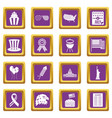 independence day flag icons set purple vector image vector image