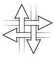 intersecting arrows sign intersection symbol vector image vector image