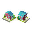 isometric facade set red houses vector image