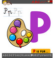 letter p worksheet with palette with paints vector image vector image