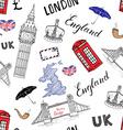 london city doodles elements seamless pattern vector image