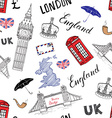 London city doodles elements seamless pattern with vector image
