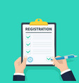 man hold registration clipboard with checklist vector image
