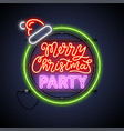 merry christmas party round neon sign vector image vector image
