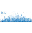 outline izmir skyline with blue buildings vector image vector image