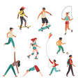 people exercise person city girl boy man vector image