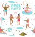 Pool party seamless pattern people swimming