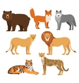 Predatory animals set wolf bear fox tiger lion vector image vector image