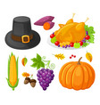 pumpkin thanksgiving day corn icons set vector image vector image