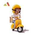 realistic retro pizza delivery scooter and vector image vector image