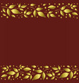 red background with border of golden leaves vector image
