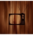 Retro tv icon Wooden background vector image