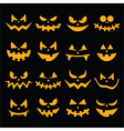 Scary Halloween orange pumpkin faces icons set vector image