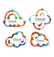 Set of flat linear design cloud logos vector image vector image