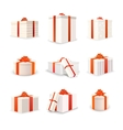 Set of white bright gift boxes with red tapes and vector image vector image