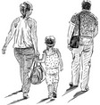 sketch a family townspeople going on a vector image vector image