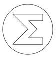 sum symbol icon black color in round circle vector image vector image
