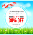 summer selling ad banner thirty percent holiday vector image