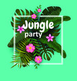 summer tropical jungle card with flowers leaves vector image vector image
