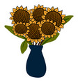 sunflowers in vase on white background vector image vector image