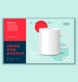 tea mug isolated on modern site template vector image vector image