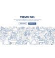 trendy girl banner design vector image vector image