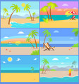tropical summer set mountains vector image