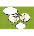 Two men joyful and angry Comic bubble smiley face vector image vector image