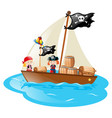 two pirates sailing the boat vector image vector image
