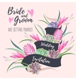Wedding invitation with exotic flowers vector image vector image