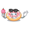 with ice cream jelly donut character cartoon vector image