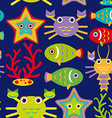 Seamless pattern with marine animals on a dark vector image