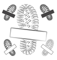 Set of logos with footprints of shoes isolated vector image