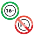16 plus permission signs vector image vector image