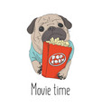 adorable little puppy with pop corn paper bag vector image vector image