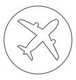 airplane icon black color in round circle vector image