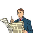 attention man reading a newspaper vector image vector image