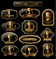 award design black and golden labels collection vector image