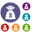 bag with dollars icons set vector image vector image