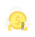 big gold coin investment in startup vector image vector image