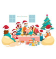 big happy family talking and eating at home vector image