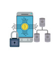 bitcoin digital currency secure network in vector image