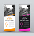black and white roll-up banner with place vector image vector image